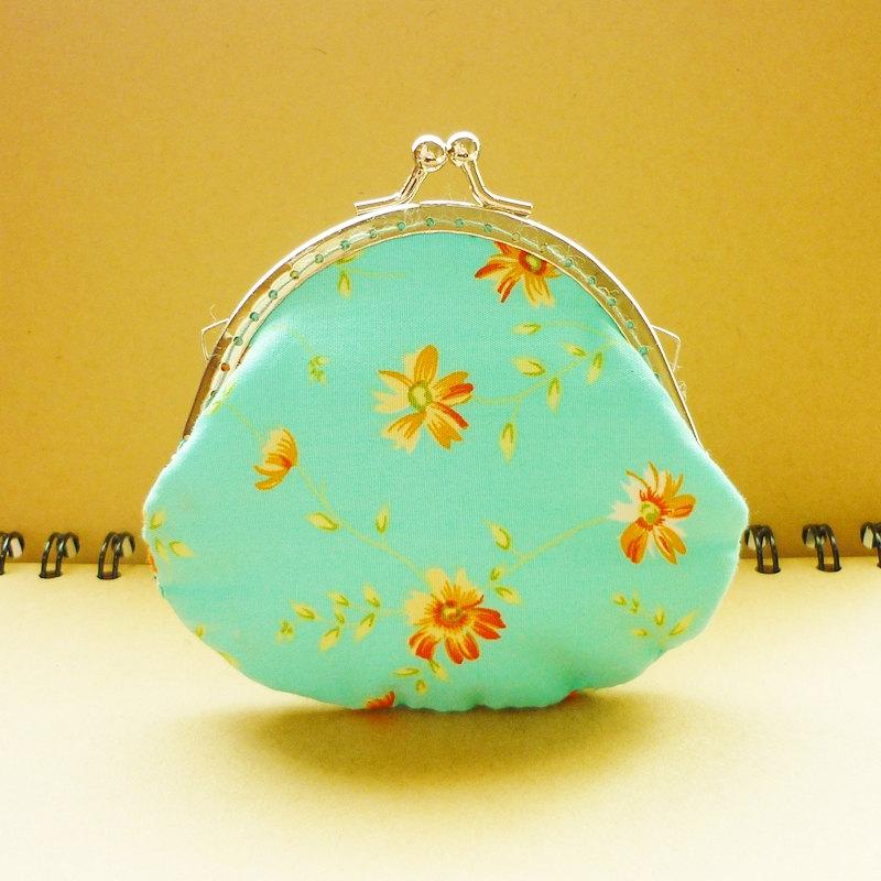 Small Metal Frame Blue Pouch - Flower Breeze - Coin Purse - Framed Purse Frame - Blue Small Pouch - Gift under 15
