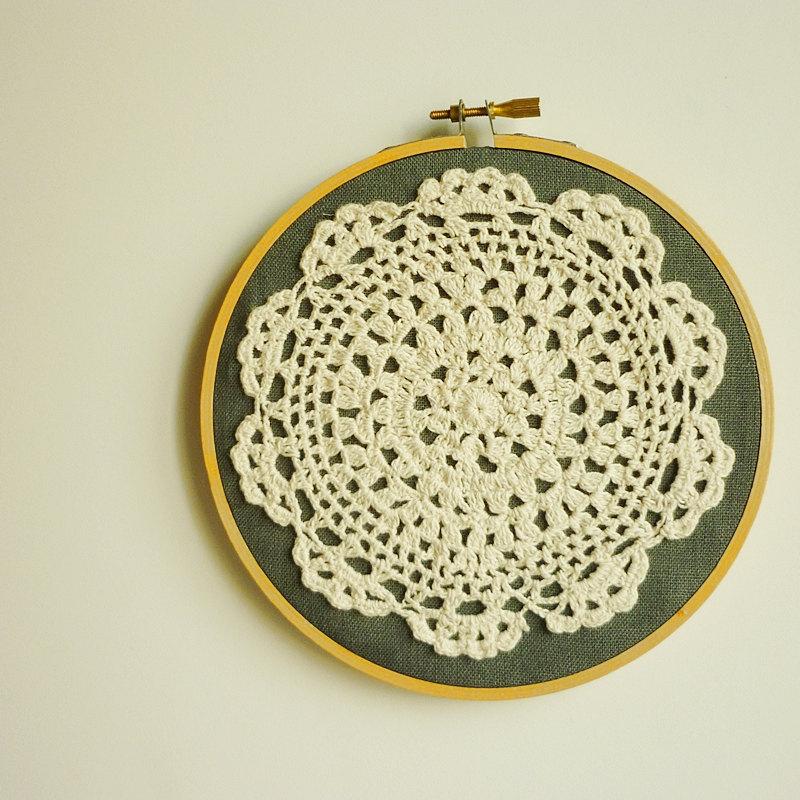 Doily Embroidery Hoop Art - Flower On Desert - Framed Wall Art - 6 ...