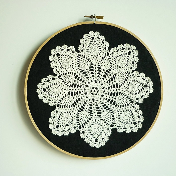 Doily Embroidery Hoop Art Snowflake At Night Framed