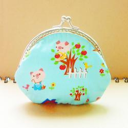 Small Metal Frame Blue Pouch Bag - Little pig and fox - Framed Coin Purse - Purse Frame - Gift under 20